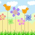 Horizontal seamless vector background border with birds and flowers Royalty Free Stock Photo