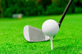 Horizontal shot the putter and golf ball on a lawn Stock Photography