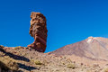 Horizontal shot of Roque Cinchado and mount Teide, Tenerife, Spain. Stock Images