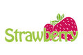 Horizontal trendy strawberry logo. Text and illustration in flat design.