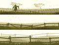 Horizontal vector banner farm fields with fence set of Stock Images