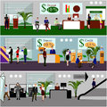 Horizontal vector banners with bank interiors