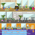 Horizontal vector banners with gym interiors Royalty Free Stock Photo