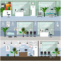 Horizontal vector banners with hospital interiors. Medicine concept. Medical check up and surgery operation room.