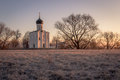 Horizontal view of an ancient church at dawn, a frosty morning, early spring Royalty Free Stock Photo