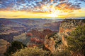 Horizontal view of famous Grand Canyon at sunrise Royalty Free Stock Photo