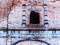 Horizontal vintage cracked textured brick wall of Russian church Royalty Free Stock Photo