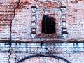 Horizontal vintage cracked textured brick wall of Russian church Royalty Free Stock Photo