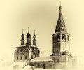 Horizontal vintage Russian orthodox church postcard Royalty Free Stock Photo