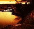 Horizontal vivid orange sunset near industial zone cyberpunk digging machine background backdrop Royalty Free Stock Photography