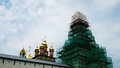 Horizontal vivid orthodox church under restoration background ba Royalty Free Stock Photo