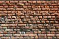 Horizontal wall texture of several rows of very old brickwork made of red brick. Shattered and damaged brick wall with pinched co Royalty Free Stock Photo