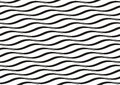 Horizontal waves vector seamless pattern black and white optical illusion can be used as background Royalty Free Stock Images
