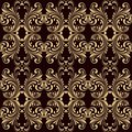 Horizontal yellow on brown ornamental seamless pattern background vector illustration Royalty Free Stock Images