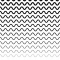 Horizontally repeatable irregular wavy lines. Billow, ripply, un Royalty Free Stock Photo
