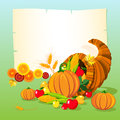 Horn of plenty cornucopia holiday illustration thanksgiving day background Stock Photos