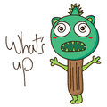 Horn stick monster illustration drawing white color background graphic object element Stock Image