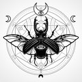 Horned bug. Mystical circle. Esoteric symbol, sacred geometry. Royalty Free Stock Photo