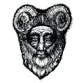 Horned deity illustration that is black Stock Photos