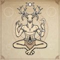 Horned god Cernunnos . Mysticism, esoteric, paganism, occultism. Vector illustration.