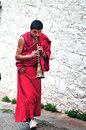 Hornist monk in jokhang temple tibet Stock Photography