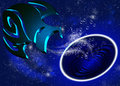Horoscope aquarius zodiac with blue sky and stars background Royalty Free Stock Photo