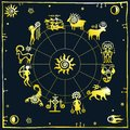Horoscope circle. Zodiac signs. Royalty Free Stock Photo