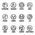 12 horoscope line border in circle icon sign vector set design Royalty Free Stock Photo