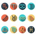 Zodiac flat buttons, icon set separated by elemental signs Royalty Free Stock Photo