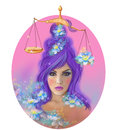 Horoscope zodiac fantasy libra portret beautifulbn girl illustration of astrological woman Royalty Free Stock Photo