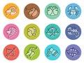 Horoscope zodiac line border sharp sign icon on circle vector illustration set design Royalty Free Stock Photo