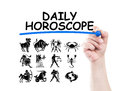 Daily horoscope with zodiac signs concept made on transparent wipe board with a hand holding a marker Stock Photo