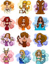 Horoscope zodiac signs with women Stock Photo