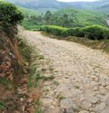 Horrible road raw rough stone perched in tea estate mountain Stock Images