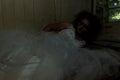 Horror bride in bed creepy creepy devastated room Stock Photos