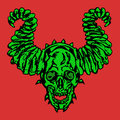 Horror demonic skull with horns. Vector illustration.