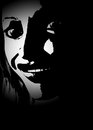 Horror face template black with a creepy lady for theme posters and artworks Royalty Free Stock Image