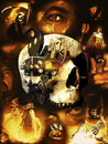 Horror movies human skull with gears and movie camera with an eye on its lens in the center of a poster showing several images Royalty Free Stock Photo