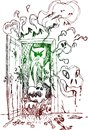 Horror open door terrifying with ghosts monsters and bats sketched illustration for halloween Royalty Free Stock Image