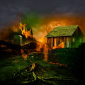 Horror scene scary mountain graveyard with haunted house tomb stone full moon and twisted dead tree roots burning in the evil Royalty Free Stock Photography