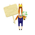 Horse with banner illustration of on white background Royalty Free Stock Image
