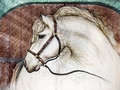 Horse in barn stall a hand drawn sketch mixed with photographic imagery of a with a bridal inside a Stock Photography