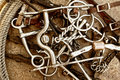 Horse Bits, Tack Leather & Rope (Brown) Royalty Free Stock Photo