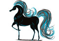 Horse with a blue mane vector gfaphics isolated on th wight background Stock Photography