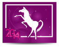 Horse and calendar lilac new year Royalty Free Stock Photo