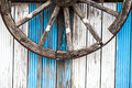 Horse Car Wheel and Wooden Background Royalty Free Stock Photo