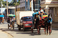 Horse Cargo on the Street of Cuba Stock Photos