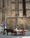 Horse Carriage and Cathedral Royalty Free Stock Photos