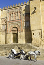 Horse carriage cordoba andalusia spain parked next to the mosque of Royalty Free Stock Images