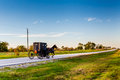 Horse and Carriage on Highway in Oklahoma Royalty Free Stock Photo